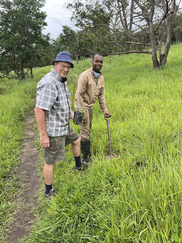 Ian Sandison and Dumsani Mabika planting some new species in the grassland in 2020.